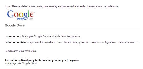 Pantalla de error de Google Docs