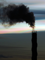 Pollution (Rune T) Tags: sunset chimney sky cloud black nature contrast colorful smoke pollution juxtaposition