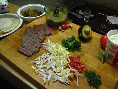 Perfect Steak Tacos with Rajas and Tomatillo Salsa - Fixings
