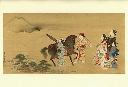Jovenes con un caballo mirando el Monte Fuji- artista Chôsun Miyagawa-corregido el contraste