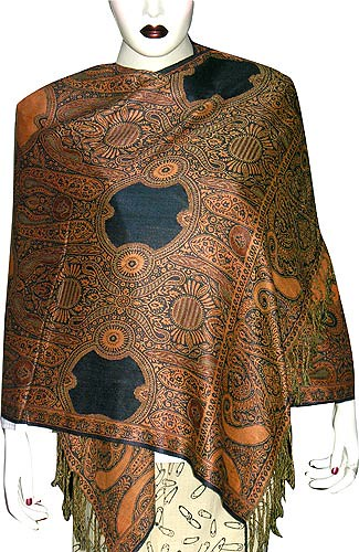 Viscose and Wool Stoles In Jacquard Weaving Women's Fashion Clothes From India Handmade Indian Clothing and Dresses for Women (shalin-india)