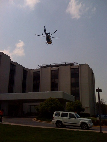 A Medevac helicopter arrives at Washington Adventist Hospital - Taken With An iPhone