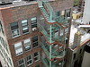 Cyan on Brownstone (maerzbow) Tags: nyc newyorkcity brownstone exitstairs