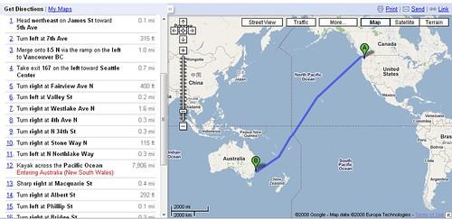 Google Maps: Seattle – Sydney per Kajak - GWB