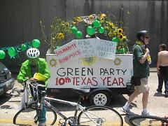 Green Party Car (Luthien T) Tags: houston artcarparade