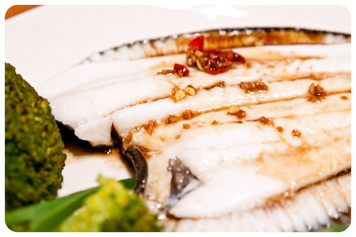 Steamed fish with greens and chinese sauce (by Christ tell)