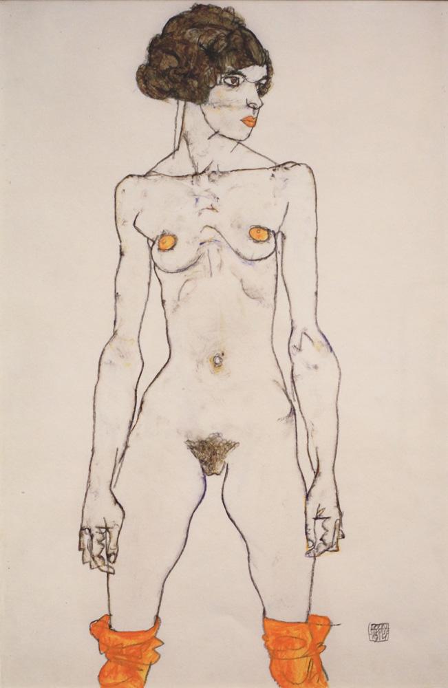 Egon Schiele, Stehendes nacktes Mädchen mit orangefarbenen Strümpfen [Standing Nude Girl with Orange Stockings], 1914