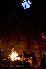 Telling tall tales in the traditional Kota in Rovaniemi, Lapland