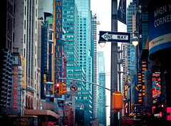 is there only one way? // new york city (pamela ross) Tags: street city nyc urban usa newyork clock america pen trafficlight unitedstates broadway olympus oneway lionking ep1 theatredistrict
