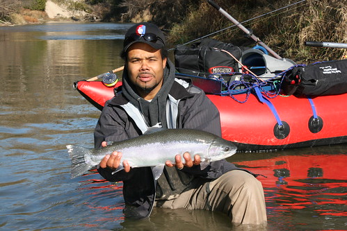 Tony with a fresh run steelhead