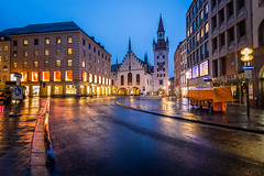 Old Town Hall and Marienplatz in the Morning, Munich, Bavaria, Germany (ansharphoto) Tags: street city morning travel vacation sky urban building tower history clock tourism monument wet rain electric skyline architecture night facade trash germany munich square bavaria dawn lights town hall twilight europe european cityscape view famous religion landmark center medieval structure illuminated german historical munchen traveling raining rathaus renaissance marienplatz marian