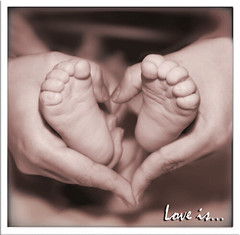 Love is.. (MissSmile) Tags: bw baby art love feet mom child heart sweet card newborn tenderness 50faves 35faves 1mill theperfectphotographer happinessconservancy