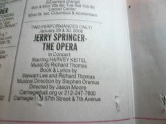 Jerry Springer, the Opera, Starring HARVEY KEITEL