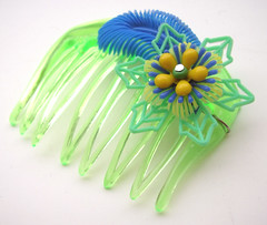 Blue, Green and Yellow Vintage Flowers Hair Comb / Barrette
