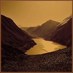 Sunset - Tibet (Katarina 2353) Tags: china sunset wallpaper panorama mountain lake snow mountains reflection film nature water landscape photography evening nikon asia flickr heaven image paisaje tibet paysage sephia range priroda himalayas himalayan yamdroktso tjkp pejza tibetanlandscape katarinastefanovic katarina2353