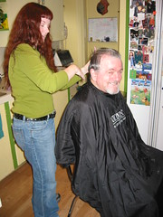 cutting and mugging (normaljean) Tags: hair dad cutting hairdressing cuttinghair normaljean fortheday outofretirement