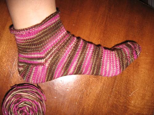 toe up sock, take one
