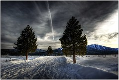 Jetting to Tahoe (Extra Medium) Tags: trees snow clouds scenery contrail hdr chemtrails northstar lotsofsnow snowdamage northstarattahoe snowflurries californiasnow martiscreeklake snowontheroad truckeetahoeairport martiscreekroad martiscreekdam californiastorms stormwatch08