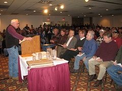 Upper Peninsula Sportsman's Alliance President Dale McNamee gives several state legislators and hundreds of outdoor enthusiasts and earful about the DNR and DEQ at the Michigan Natural Resource Users Rally Feb. 16 in Marquette.