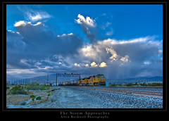 The Storm Approaches (_Allen_) Tags: california railroad storm up weather train canon geotagged palmsprings unionpacific lightroom photomatix tonemapped sd70ace ge:tilt=0 ge:range=1000 1dmarkiii 1d3 geo:lat=3389979 geo:lon=116551117 stupidlightroomgrouprules pettyrulesingroupssuck