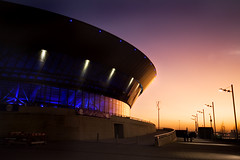 Repeating Curves (BarneyF) Tags: sunset color reflection architecture liverpool birkenhead merseyside capitalofculture liverpool08 echoarena
