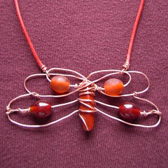 Red Dragonfly - a pendant in copper and beads
