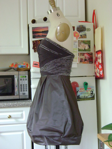 bias dress with fluted bodice and french lining