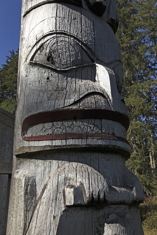 beaver figure on totem, Kasaan, Alaska