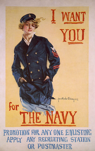Howard Chandler Christy poster, 1917. An illustrated white woman with blond hair. The text reads: I want you for the Navy in red font