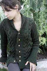 rut 010 (TheYarnBearer) Tags: green wool design sweater knitting knit cables cascade cardigan 220 rut knitwear ravelry