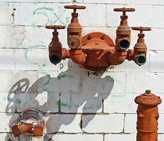 Klingon star ship (Texas Finn) Tags: old startrek shadow red building brick classic water wheel set writing trek vintage four star flying hardware tv rust ship texas grafiti space 4 alien rusty beam fantasy rusted faucet spout faucets soe crusty trekkie saucer itasca musictomyeyes desecrated mywinner flickrenvy backrroads