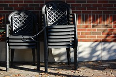 (Joie de Vivre) Tags: shadow brick wall chair many stack champaign