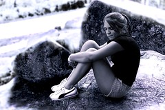 Pondering (toekneestuck) Tags: summer vacation 20d girl canon rocks sad think gettysburg puma ponder