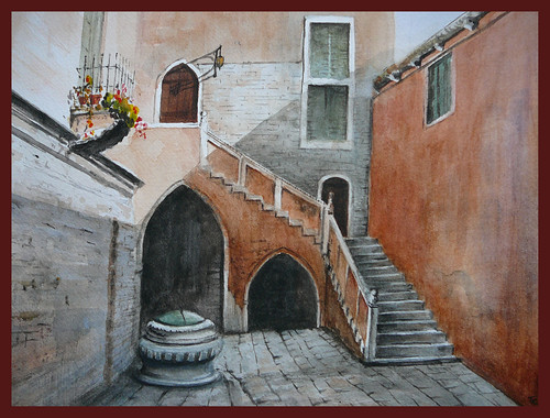 Courtyard,Venice. Watercolour.