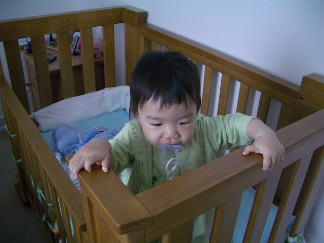 My son in his cot