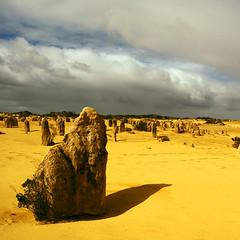 Pinnacle Desert (The Pinnacles) (halography (s)) Tags: sky cloud nature beautiful weather yellow clouds dark square landscape nikon desert ngc australia western pinnacles pinnacle 1x1 sooc loops3npictures xyouchoose