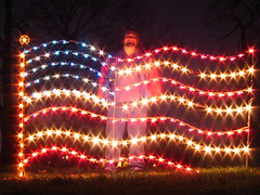 Christmas at Centennial Park #1: Self portrait with Flag lights