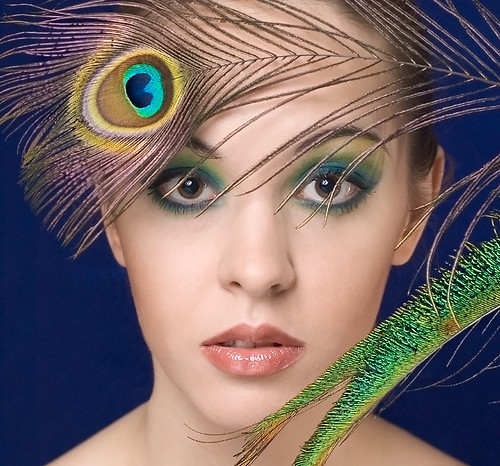 Sexy Beautiful Girl Model with Peacock Art