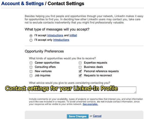 Contact settings for your Linked-In Profile