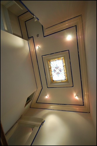 Skylight, Molding added, Ceiling taped off for Paint,