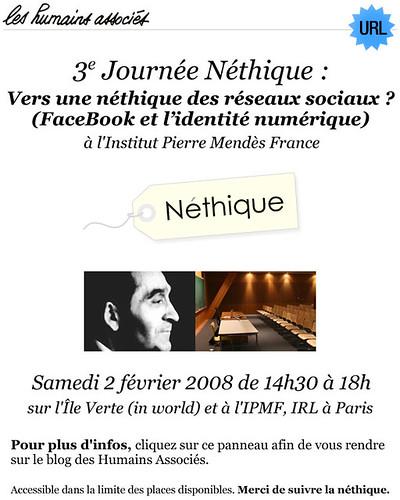 Néthique 3, Vers une néthique des réseaux sociaux  ? (FaceBook et l'identité numérique), Les Humains Associés à l'Institut Pierre Mendès France 02/02/08