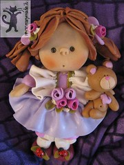 Unique Collectible Doll (marytempesta) Tags: pink roses dolls purple handmade crafts polymerclay teddybear ladybugs