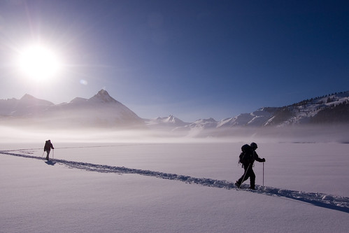 Skiing across Garibaldi Lake, Garibaldi Provincial Park, BC