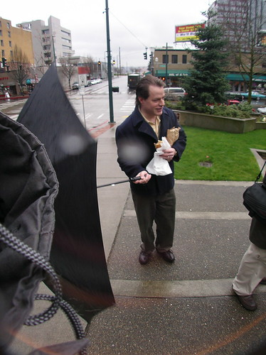 Tacoma Urbanist with Large Umbrella