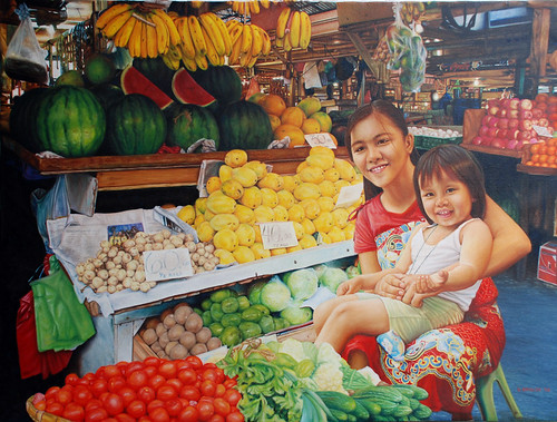 MARKET SCENE PAINTING mother holding daugther child girl vendor Philippines Pinoy Filipino Pilipino Buhay  people pictures photos life Philippinen  菲律宾  菲律賓  필리핀(공화국)  special espesyal