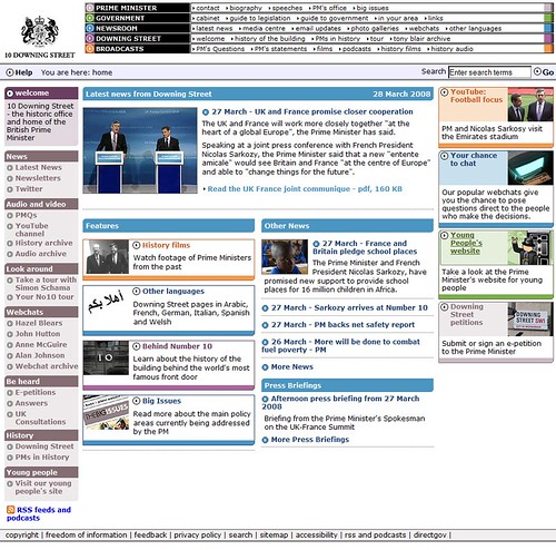 10 Downing Street mit RSS Feeds und Podcasts