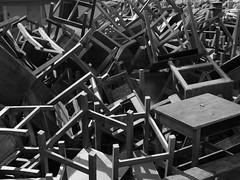 Deconstruction (jferbal) Tags: school blackandwhite chaos chairs furniture geometry fear caos revolution cube escuela escher sedie revolucion sillas muebles scuola kaos chaotic geometria panico cubic temor mobili caotico timore cubico kaotisch
