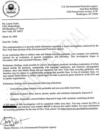 Laurel Touby gets busted by the EPA