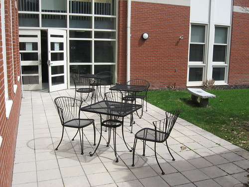 public outdoors chairs library patio tables chelmsford