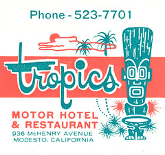 Tropics Motor Hotel (jericl cat) Tags: california art illustration vintage paper hotel motel ephemera modesto tropical motor bestwestern tiki tropics matchbook 936mchenryavenue